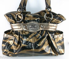 Kathy Van Zeeland Zebra Print Gold & Black Shoulder Bag Purse Belted