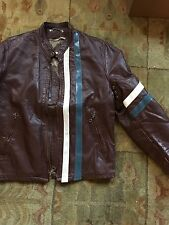 VINTAGE LEATHER MOTORCYCLE TUNIC CAFE RACER SCHOTT TYPE LEMANS JACKET FIGHT CLUB