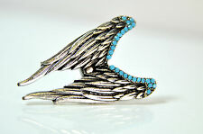 ELEGANT ANGEL WINGS SILVER TEAL LARGE RING EYE CATCHING STUNNING BRAND NEW (CL2)