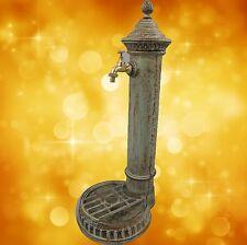 Garten Brunnen Zapfsäule Wandbrunnen Eisen grün Säule Wasserspender Dekoration