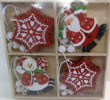Pack Of  12 Wooden Shabby Novelty Chic Style Xmas Tree Christmas Decorations