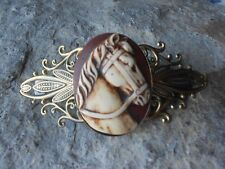 HAND PAINTED HORSE CAMEO ANTIQUED BRONZE FILIGREE BARRETTE, HORSE LOVERS