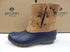 SPERRY WOMENS BOOTS SALTWATER PEARL LEATHER NAVY TAN SIZE 9