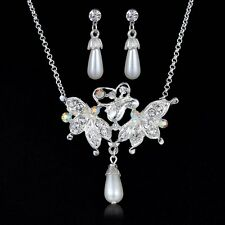 White Pearl Rhinestone Crystal 3 Butterfly Pendant Chain Necklace Earrings Set