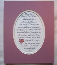 SISTER IN LAW Loyal FRIEND Rare Gift LOVING True GOD MADE poems verses plaques
