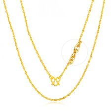 Real 24k Yellow Gold Necklace Women Pretty Special Round Link Chain 2.5-3g 16.9""