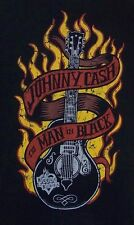 L Large Johnny Cash THE MAN IN BLACK SS T Shirt House of Blues Flames Guitar