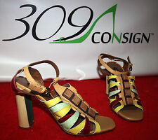 NANETTE LEPORE Italy 10 Neon Yellow Red Nude Leather Sandals Heels Anthropologie
