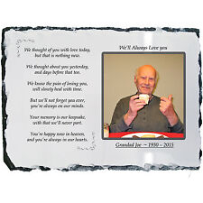 Memorial Plaque Photo Slate - Beautiful Poem + YOUR Picture! - LARGE 19 x 29cm
