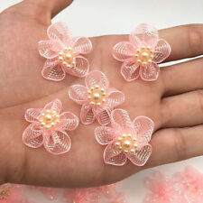 New 10pcs Organza Ribbon Flower Bows Pearl For Sewing Appliques Wedding Orange&2