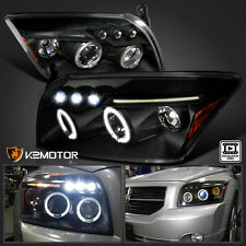 2007-2012 Dodge Caliber Halo LED DRL Projector Headlights Black Pair