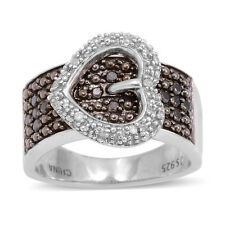 Black & White DIAMOND HEART Buckle Style RING in Plat / Sterling Silver .50 Cts.