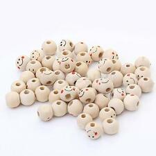 40pcs Cute Smile Face Wooden Round Ball Loose Beads DIY Craft Accessory 3mm Hole