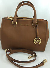 New Michael Kors MK Sutton Medium Leather Satchel Shoulder Handbag Purse Brown