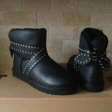UGG Cameron Black Grommet Leather Sheepskin Mini Bailey Bow Boots US 8 Womens