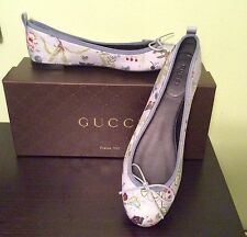 NIB AUTH GUCCI BALLET FLORAL KNIGHT CANVAS BABY BLUE BALLERINA FLAT SHOE Sz 38