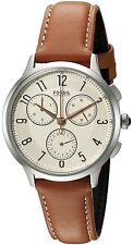 Fossil Women's CH3014 Abilene Chronograph White Dial  Brown Leather Watch