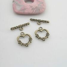 10sets antiqued bronze 2sided heart toggle clasp G1942