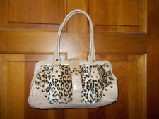 Kathy Van Zeeland Handbag Faux Leopard Fur Light Beige Trim & Wallet - NWOT