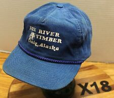 VINTAGE FOX RIVER TIMBER CRAIG ALASKA HAT BLUE CORDUROY ZIP STRAP AJUSTABLE X17