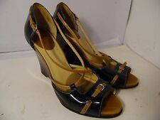 Cole Haan Nike Air Black Patent Leather Brown High Wedge Pump Open Toe Sz 11