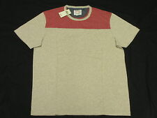$39 NWT NEW Mens Lucky Brand T-Shirt Oceanside Football Tee Beige Red Sz S M668