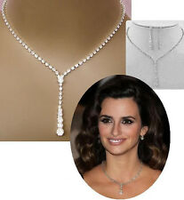 Sales Promotion Crystal Tennis Drop Necklace Set Silver Bridesmaid Event Jewelry