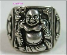 Chinese tibet silver laughing Buddha ring