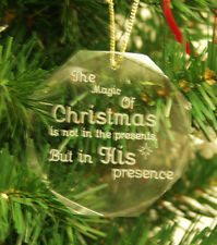 Personalized Crystal Octagon Christmas Ornament Custom Gift