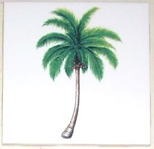 "Palm Tree Ceramic Tile Accent  Green 4.25"" x 4.25"" Kiln Fired Tropical Decor"