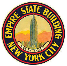 New York City- Empire State Building   Vintage-1950's Style Travel Decal/Sticker