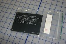 US military truck hydraulic reservoir ground servicing instructions data plate