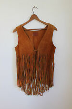 Vtg 70s Hippie Fringe Vest Suede Leather Boho Festival Biker Rocker Coat Top