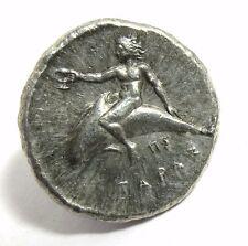 Vintage Greek coin silver tone Tetradrachm Horse man Rev. Nude Man dolphin