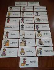 23 Verb Picture Word Flashcards.  Preschool thru 4th grade educational flashcard