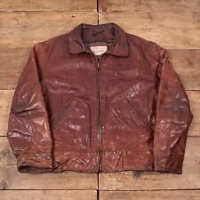 "Mens Vintage Diesel Blanket Lined Leather Bomber Jacket Brown L 46"" R5078"