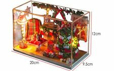 Warm Christmas Kits DIY Wood Miniature Dollhouse  Craft+Light Decor Xmas Gift