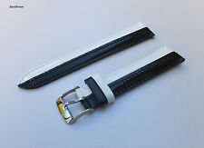 18mm BLACK AND WHITE FASHION PATENT GENUINE LEATHER WATCH BAND STRAP FITS ALL