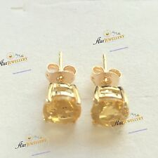 6mm 1.58 ct TW (2pcs) Genuine Natural Citrine Real 9K Yellow Gold Stud Earrings