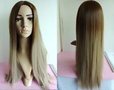 """26"""" Heat resistant Cosplay wig Synthetic hair Straight Ombre color Brown/Blonde"""