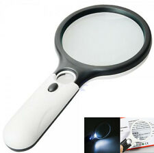 Handheld Magnifier Glass Lens With LED Light 45X Magnification Reading Fine Work