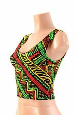 SMALL Tribal Rasta Red/Gold/Green Festival Spandex Crop Tank Top Ready To Ship!