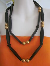 "ADELLE Black & Gold Necklace Brand New 53"" Long  $59.95 ~ 135 cms ~ ruemiraldi"