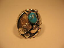 Ring Faux Bear Claw Navajo Signed DW Native American Size 11.5 Sterling Silver