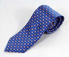 $230 Brioni 100% Silk Hand Made in Italy Royal Blue Yellow Medallion Pattern Tie
