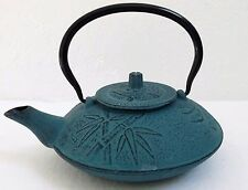 Japanese Cast Iron Tetsubin Teapot Tea Kettle w/ Infuser 2 Cup Blue Bamboo Leaf