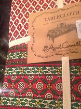 APRIL CORNELL TABLECLOTH 60 X 104 CHRISTMAS CREAM RED MEDALLION 100 % COTTON NIP