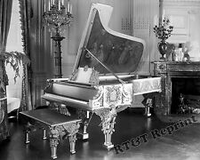 Photograph Vintage White House Steinway Gold Piano 1930 circa  8x10