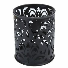 Metal Pen Holder Pen Pot Hollow Flower Pattern Round LW