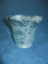 VTG Blue Frosted/Clear Glass LAMP/VANITY LIGHT SHADE-Ruffled Top-Delicate Design